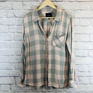 Rails Large Flannel Shirt Pink & Gray Button Front